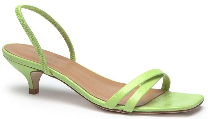 aloma Wool's Ringo is a minimalist sandal with slender patent straps and kitten heels