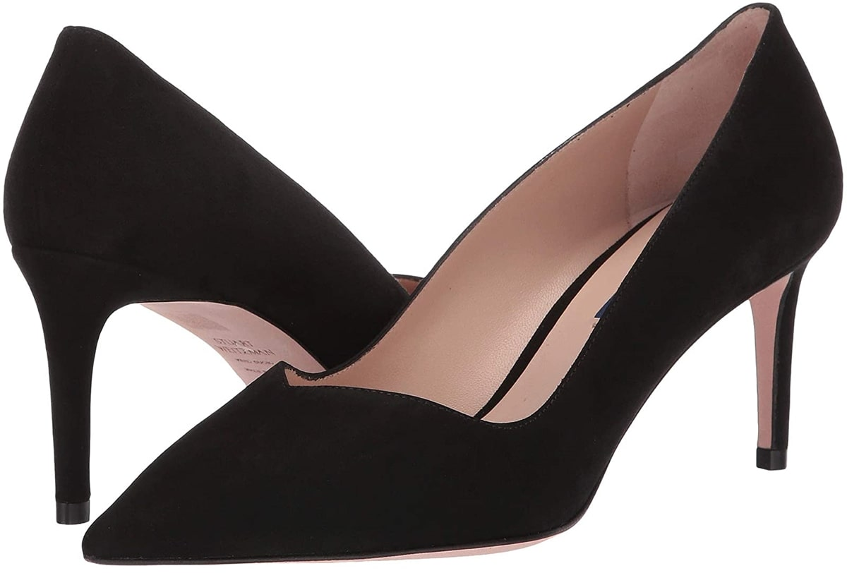 Sleek and sultry Stuart Weitzman Anny 70 heels featuring a sweetheart topline and pointed-toe silhouette