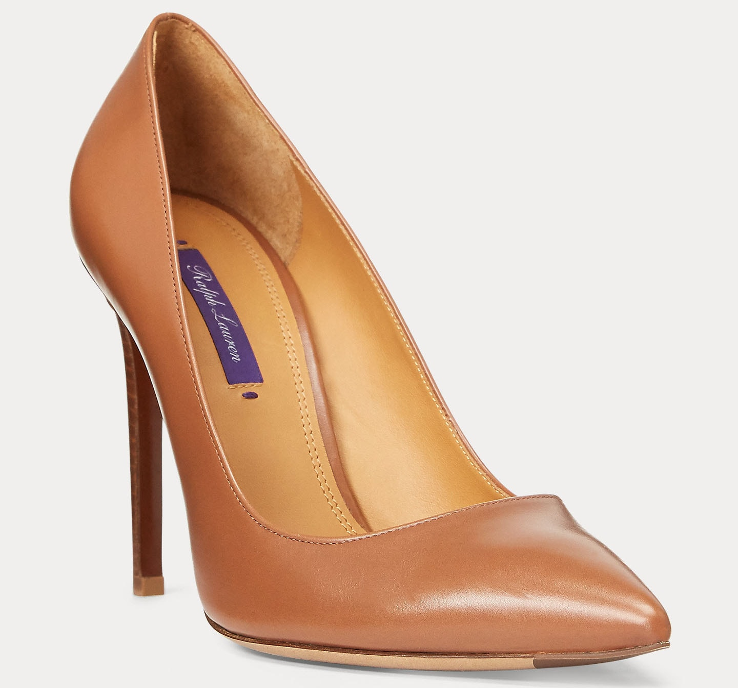 The Celia pumps are aniline-dyed to amplify the full-grain calfskin leather's natural texture