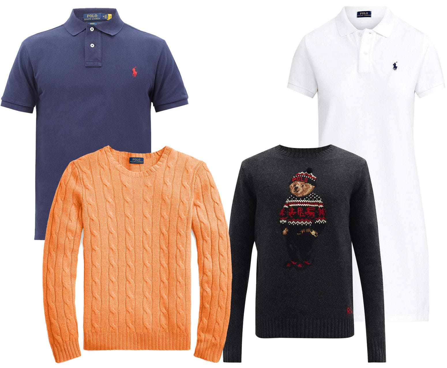 Ralph Lauren's must-haves include the classic polo shirt and polo dress, the brand's cable-knit cashmere sweater, and Polo bear jumper