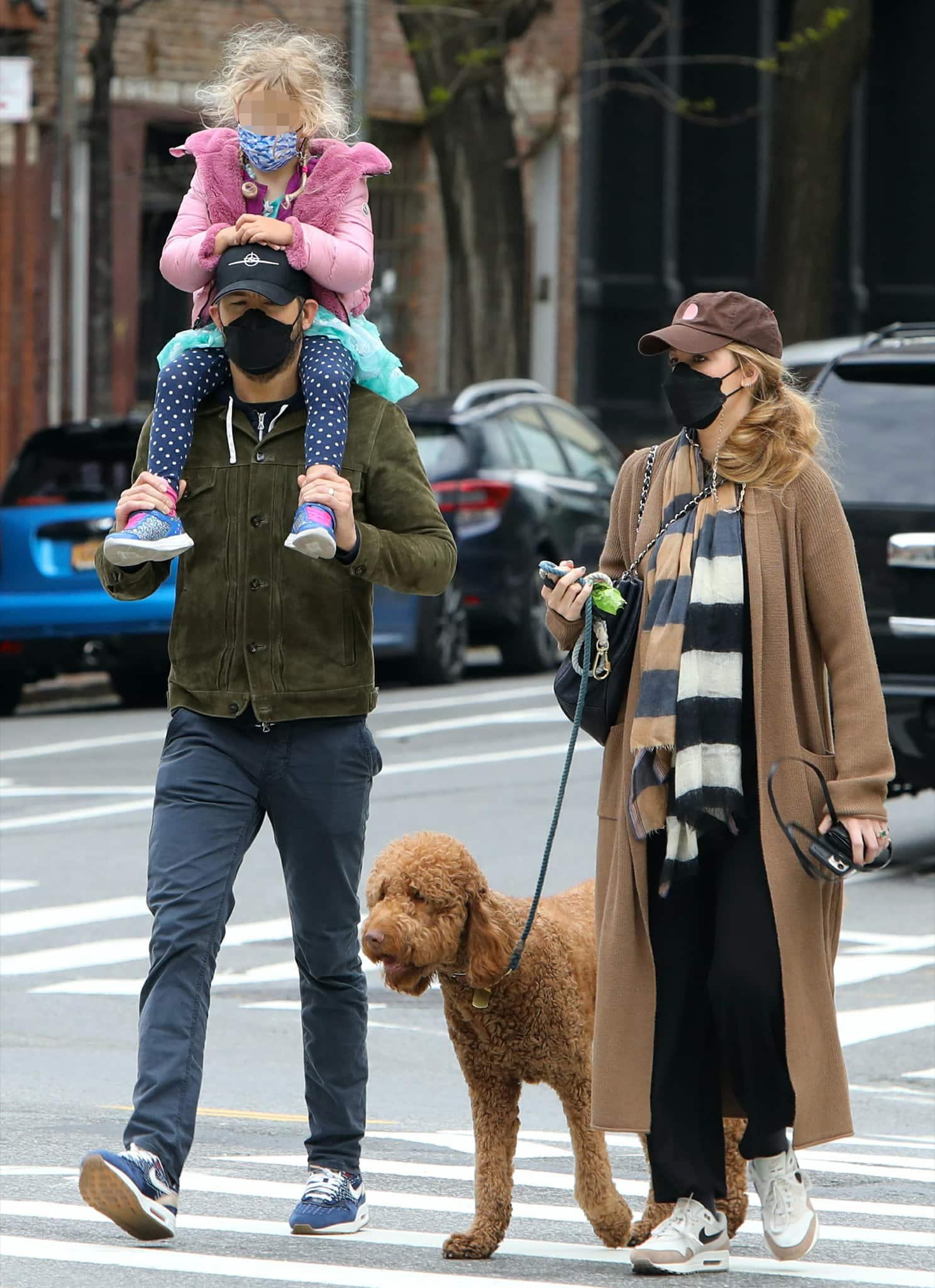 Ryan Reynolds and Blake Lively step out with daughter Inez and family dog in New York City on April 28, 2021