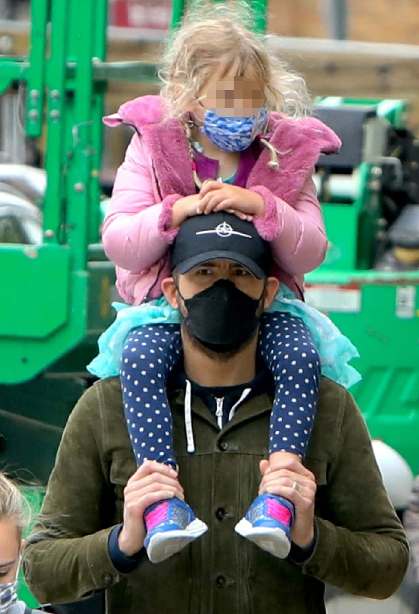 Ryan Reynolds and Blake Lively's second daughter, Inez, looks cute in her pink jacket and polka dot leggings