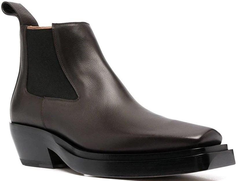 Square toe Bottega Veneta boots featuring an angled heel and elasticated ankles