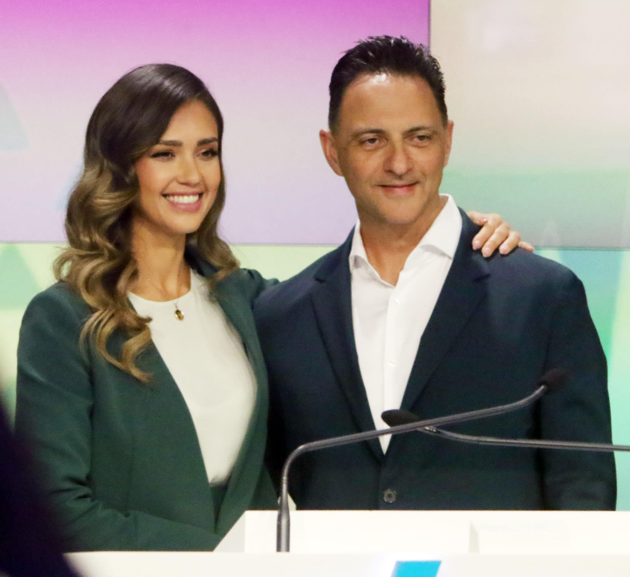 The Honest Company founder and Chief Creative Officer Jessica Alba and CEO Nick Vlahos ring the Nasdaq Stock Market opening bell on May 5, 2021