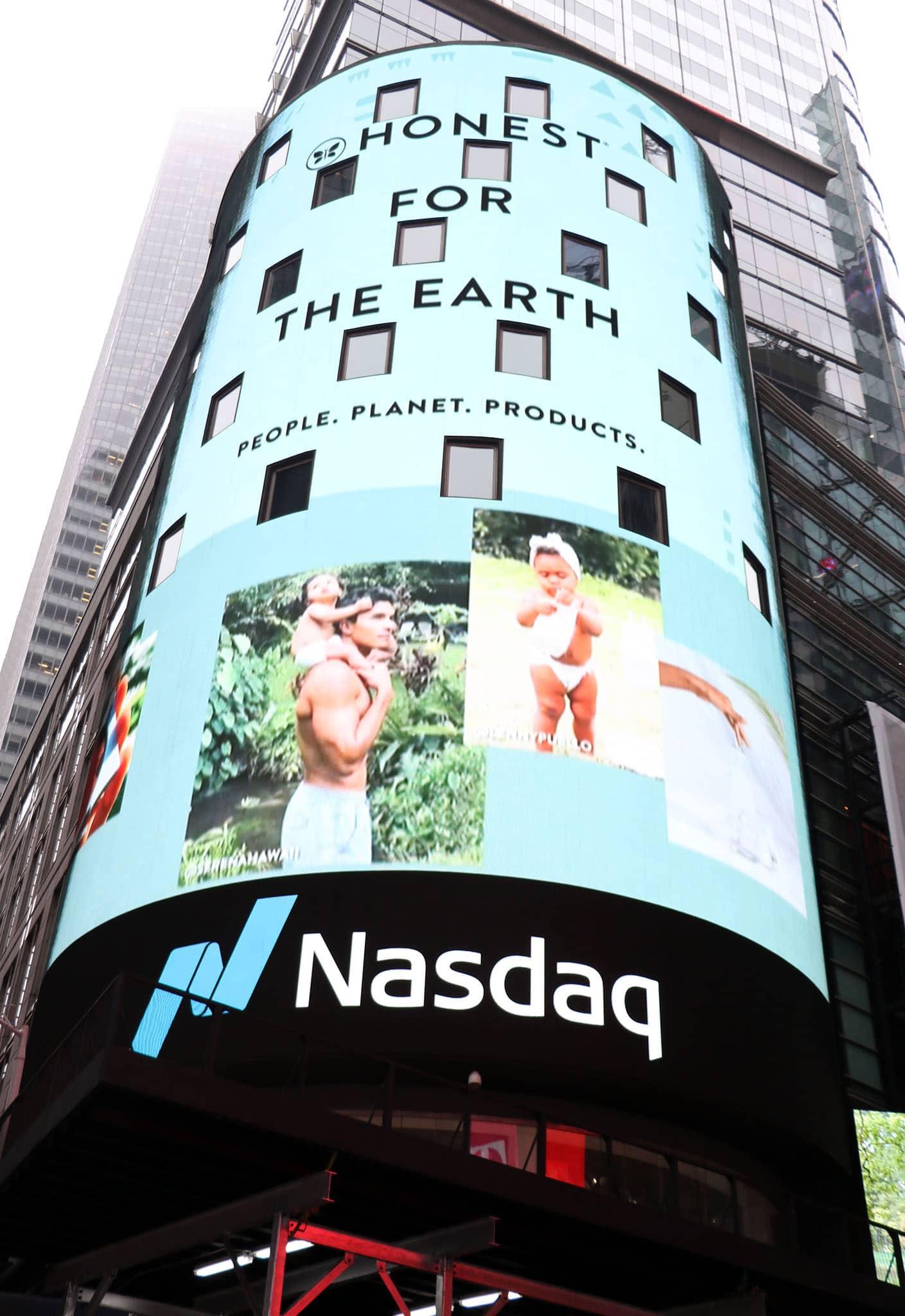 The Honest Company's Nasdaq billboard in Times Square New York