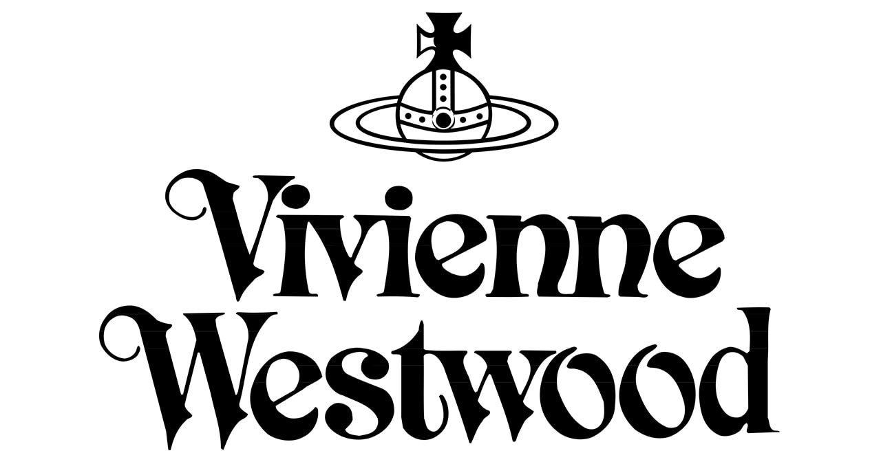 An Art Noveau-style font with an orb and cross emblem that is said to be a satirical reference to Vivienne Westwood being the self-proclaimed Queen of Fashion