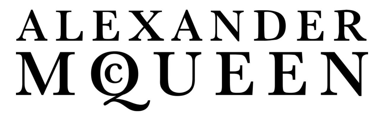 """Founded in 1992, Alexander McQueen's logo features a unique """"Q"""" lettering with a small """"c"""" inside"""
