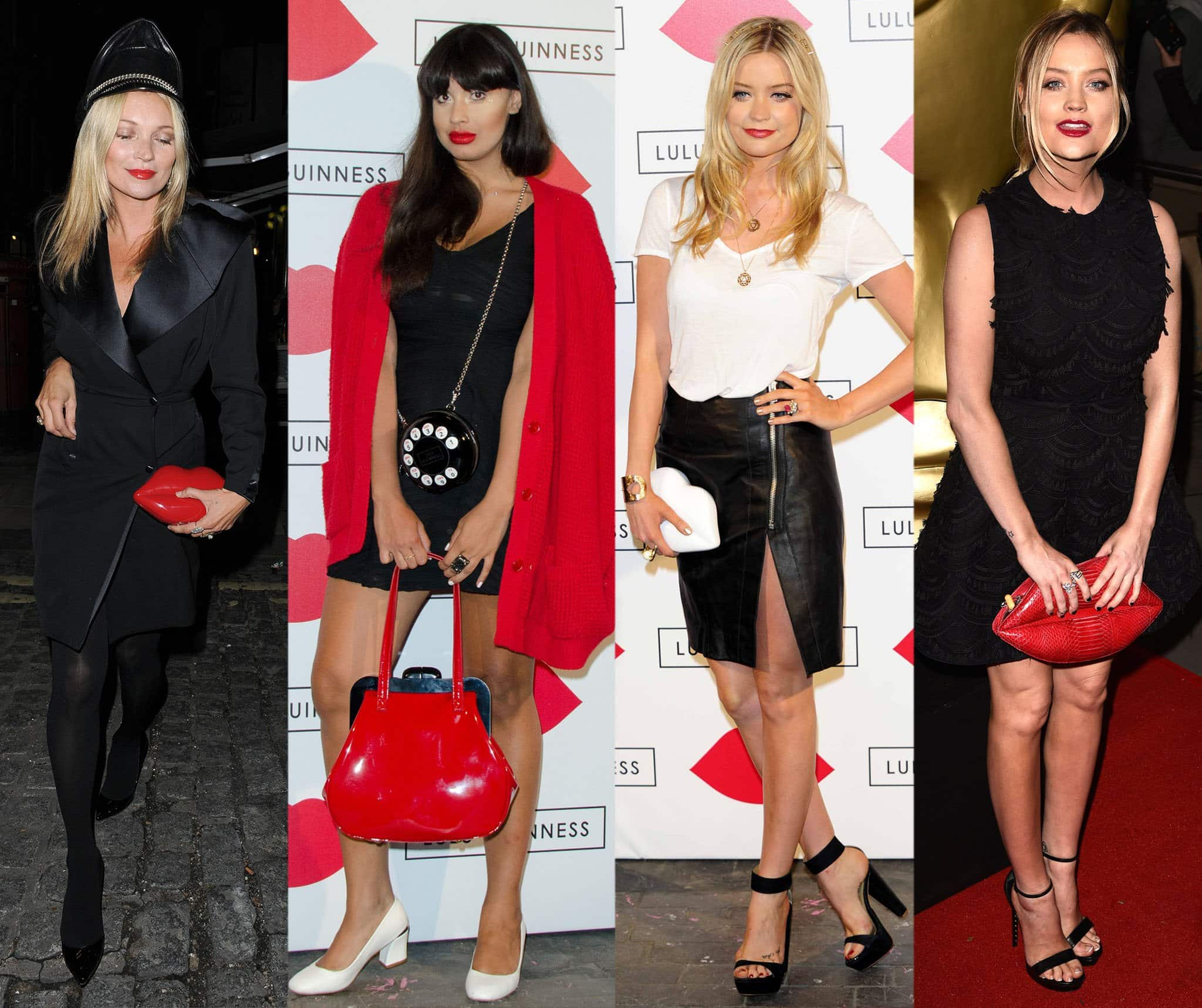 Kate Moss, Jameela Jamil, and Laura Whitmore carrying Lulu Guinness' popular lips clutch