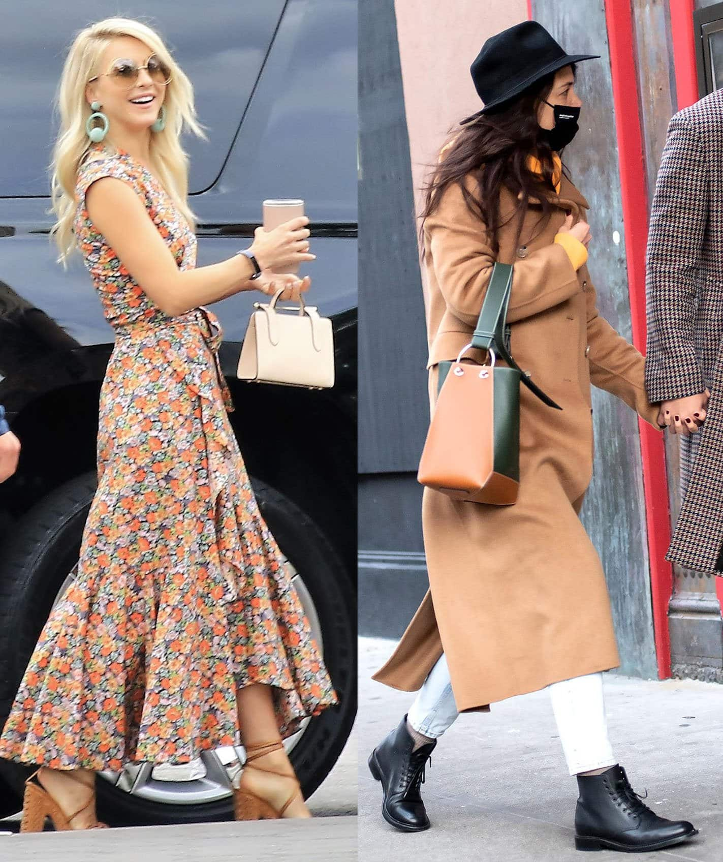 Julianne Hough and Katie Holmes carrying the Strathberry Nano tote and Lana bag respectively