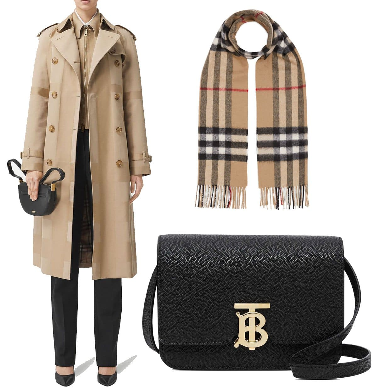 Known for its classic checkered scarf and beige trench coat, Burberry now also incorporates its interlocking TB logo to its handbags and small leather goods