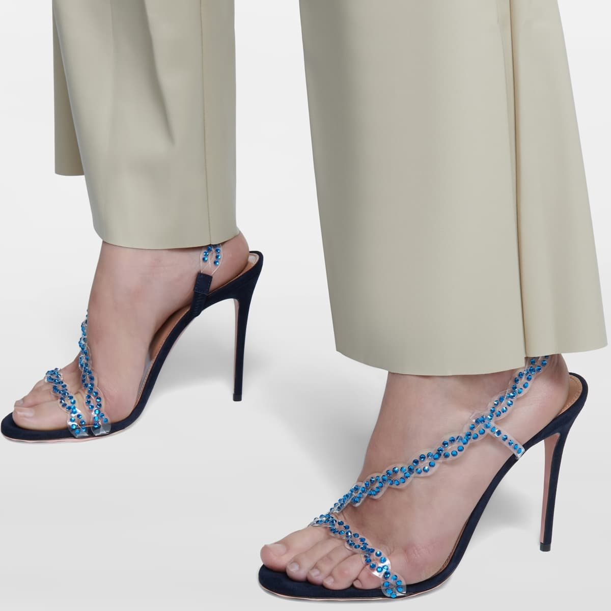 Aquazzura's Heaven sandals are made from a modern mix of inky blue suede and transparent PVC