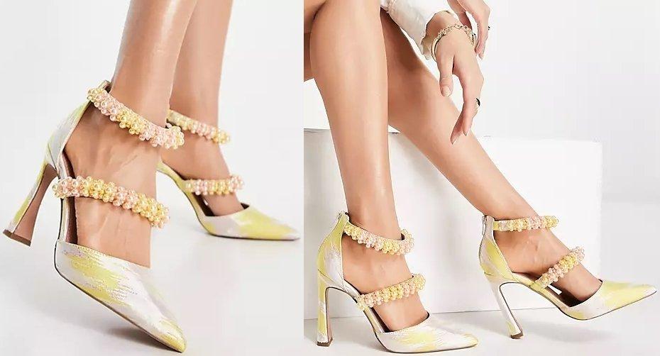 Jacquard Asos Paphos pearl detail high heeled shoes