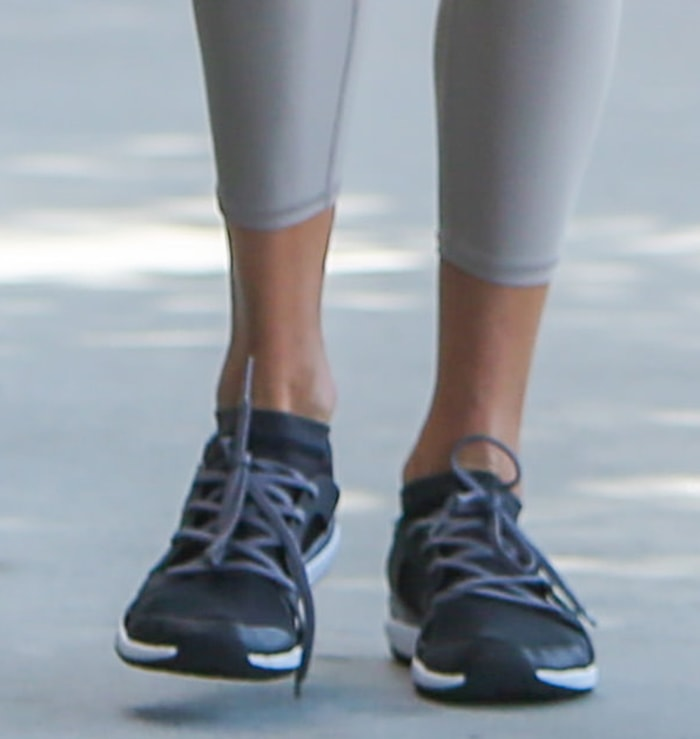 Alessandra Ambrosio completes her athleisure with Adidas by Stella McCartney CrazyTrain Pro sneakers