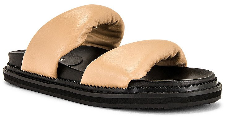A chunky two-strap sandal silhouette made from leather with rubber soles