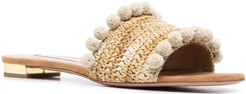 These slip-on summer mule sandals are finished with pompom detailing