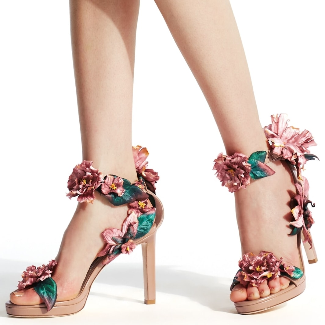 Blossom in Your Choos is decorated with exquisite satin flowers that are painted by hand and embroidered on the toe and ankle strap