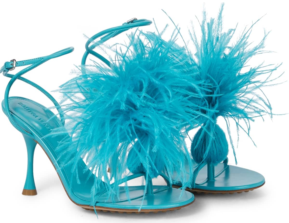 Bottega Veneta's turquoise Dot stiletto heel sandals are made from lamb leather with ostrich feathers
