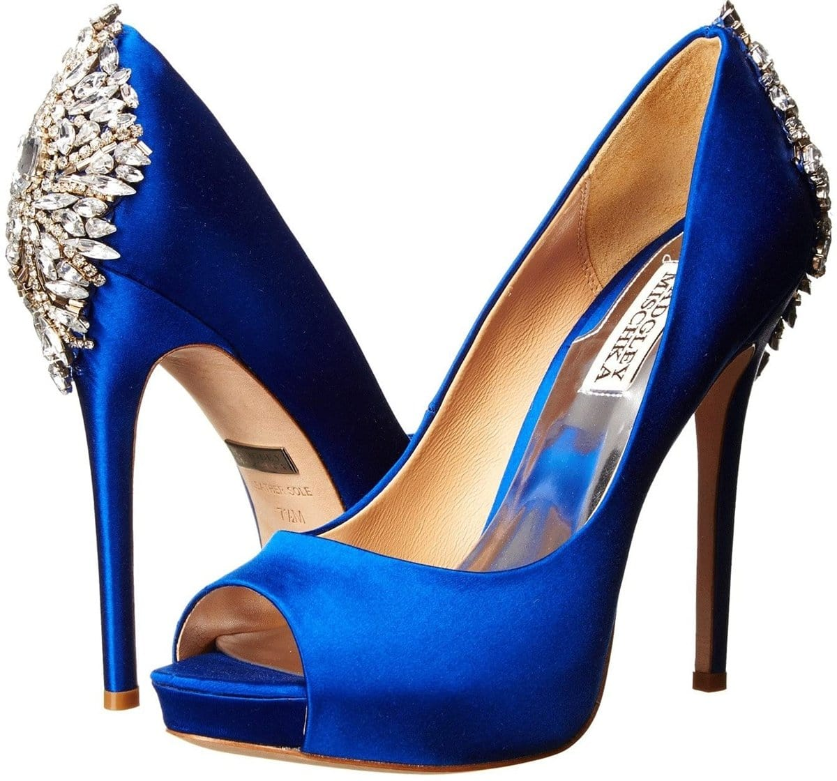 Add the perfect finishing touch to your outfit with the blue sapphire satin Kiara embellished peep-toe pump from Badgley Mischka