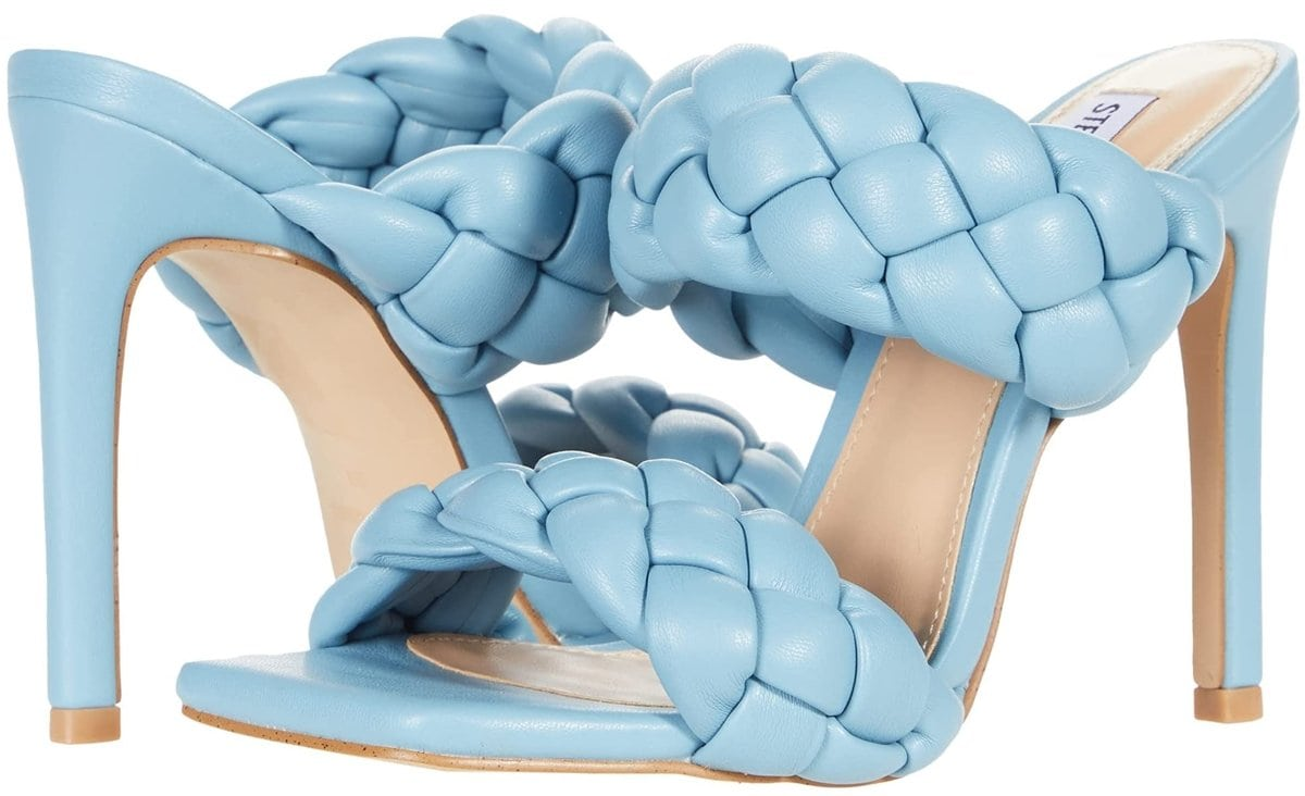 Steve Madden's blue Kenley slip-on beauty features thick braided straps and a tall slender heel