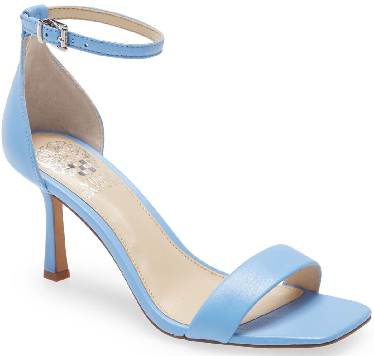 Simple and chic, this blue ankle-strap sandal from Vince Camuto with a square toe and a flared heel adds minimalist '90s vibes to any ensemble