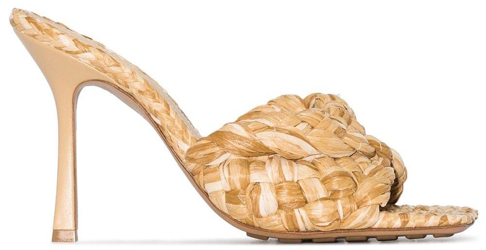 These raffia sandals feature Bottega Veneta's signature square toes and intrecciato design