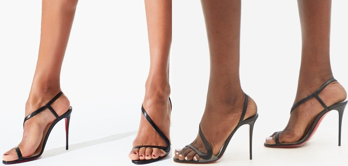 Christian Louboutin's black Rosalie sandals make your feet look longer with a sweeping slender strap
