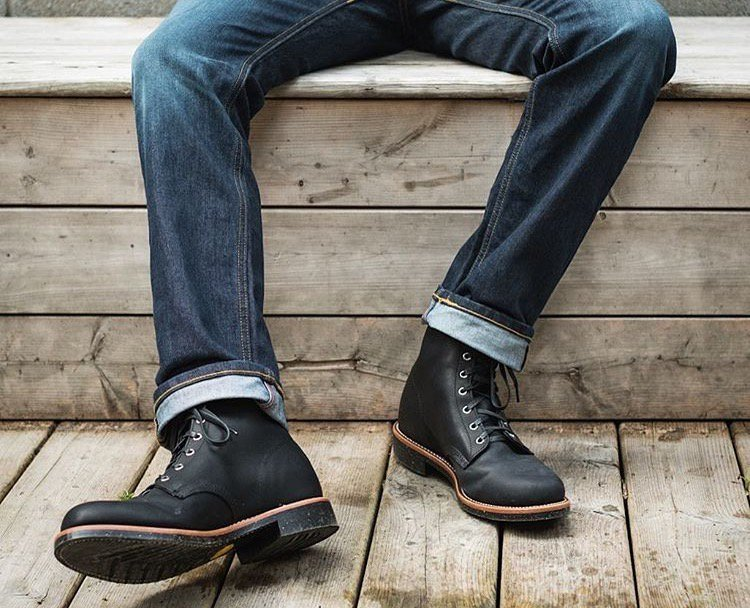 """Chippewa's Aldrich Black 6"""" men's rugged casual lace-up boot is made in the USA with global parts"""