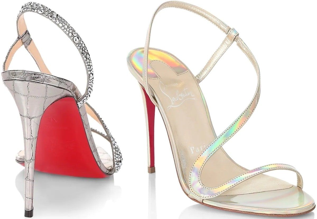 These silver strappy sandals and gold metallic iridescent high heel sandals are enhanced with discreet and detailed finishes