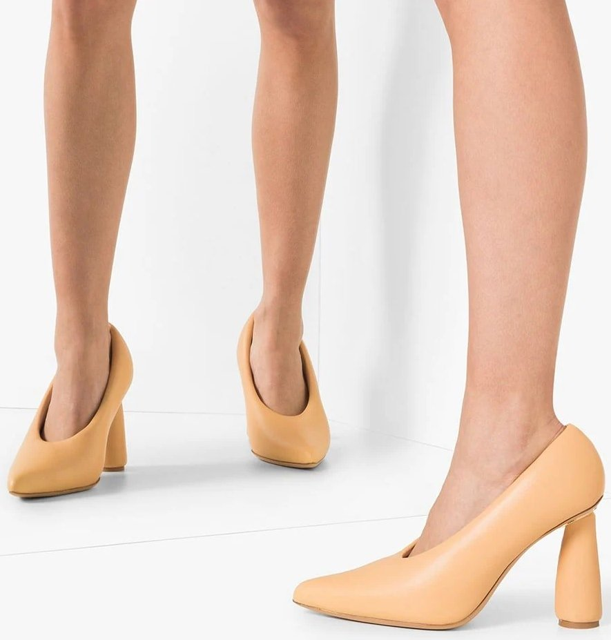 Beige leather cone-heel slip-on pumps from Jacquemus