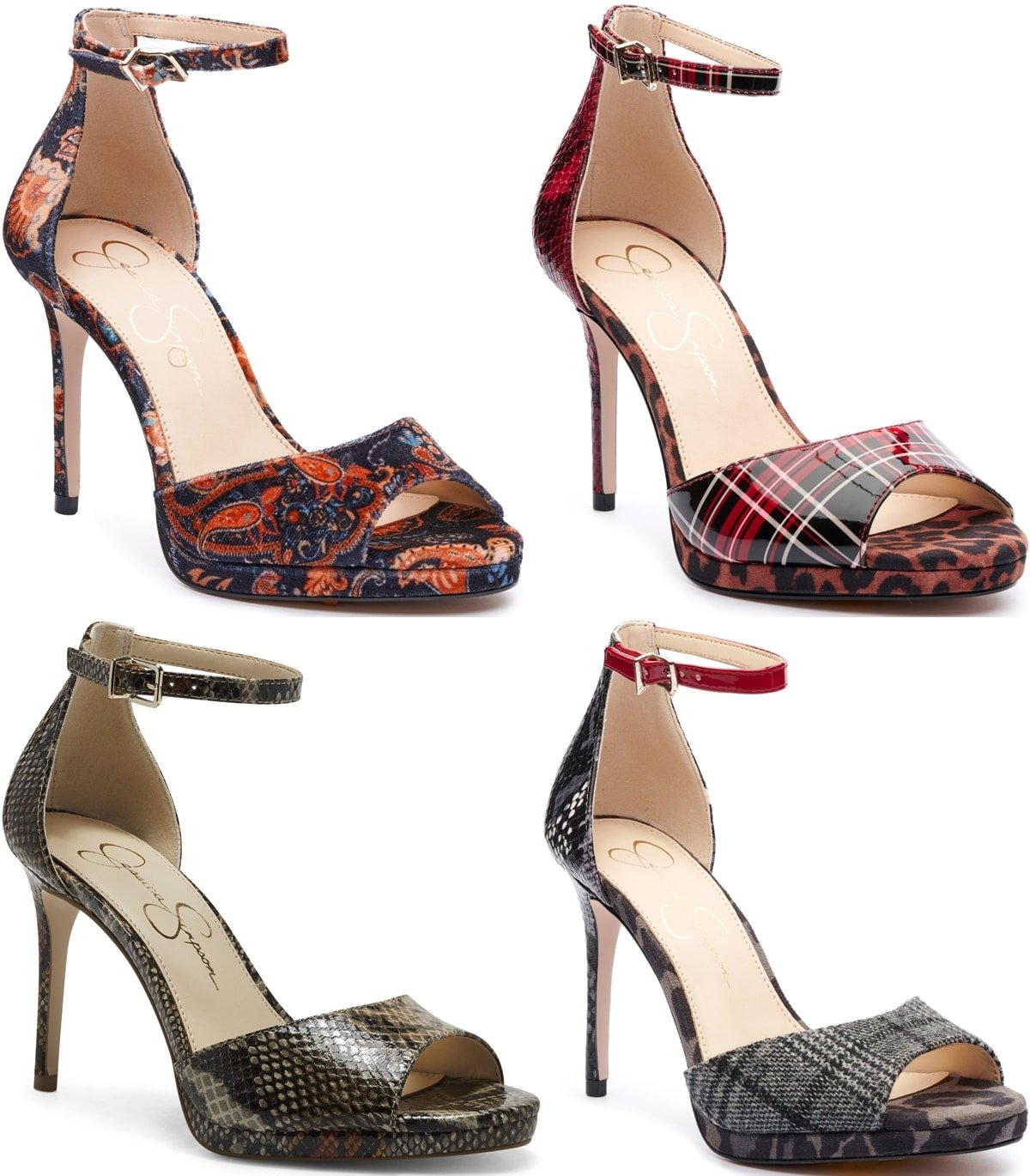 A stiletto heel heightens the modern elegance of a standout sandal from Jessica Simpson topped with a slim ankle strap