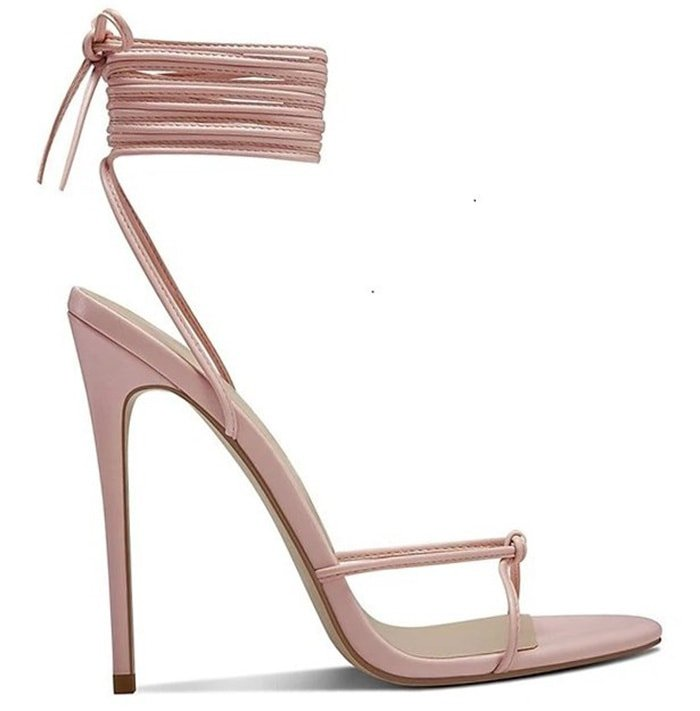 The Athens sandal has lace-up wrap around ankle straps and knotted front straps