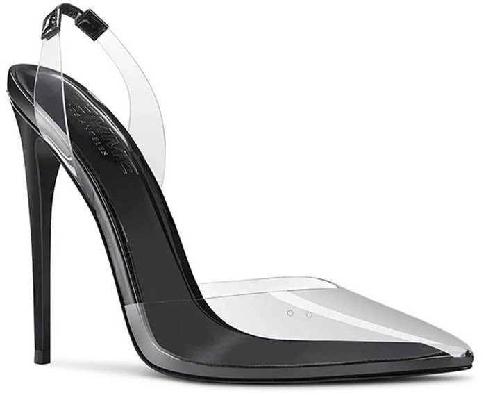 These vegan Femme Macallan pumps feature see-through vamps and slingback straps with stiletto heels