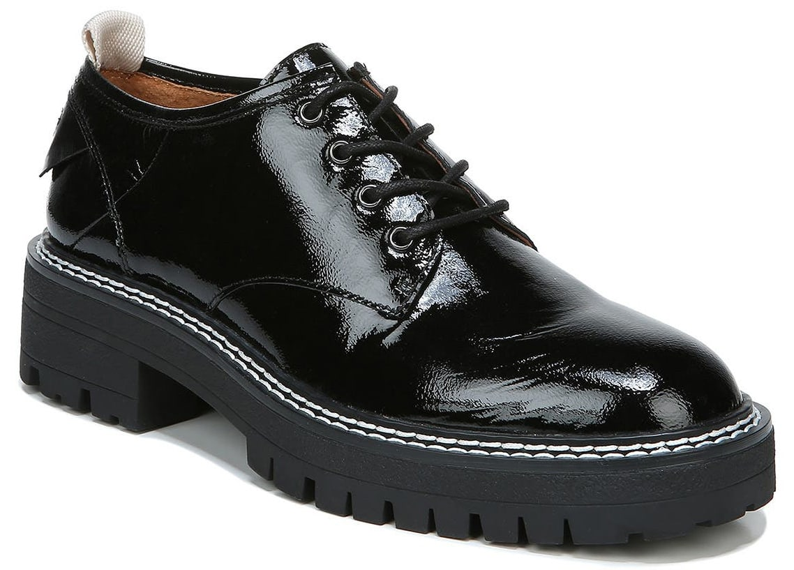 A sassy pair of derby shoes with trendy chunky lugged platform soles