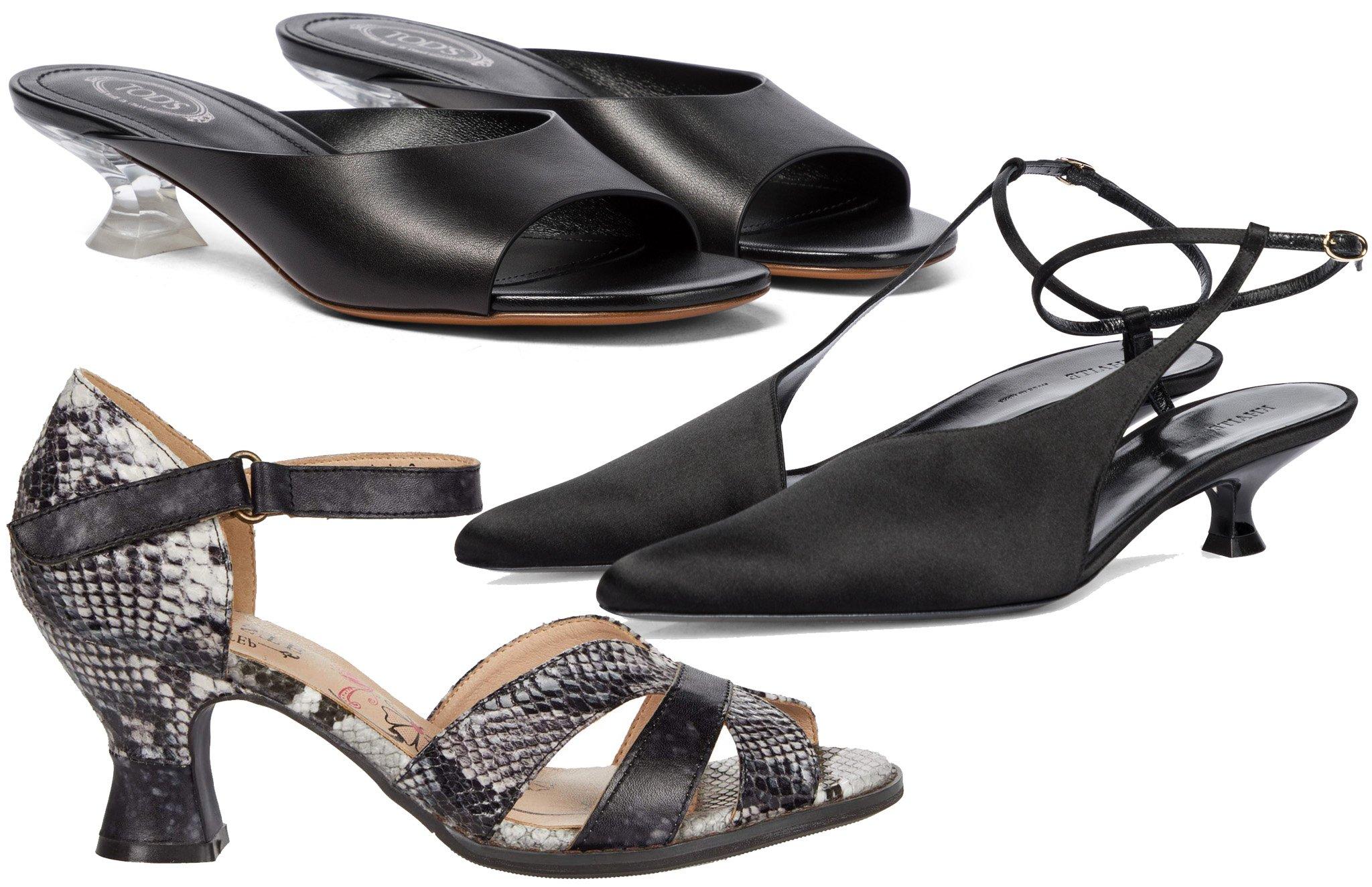 French heels are the block heel version of kitten heels