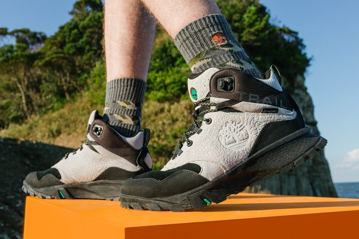 Timberland's Garrison Trail waterproof hiking boots are made with recycled material for rough terrain