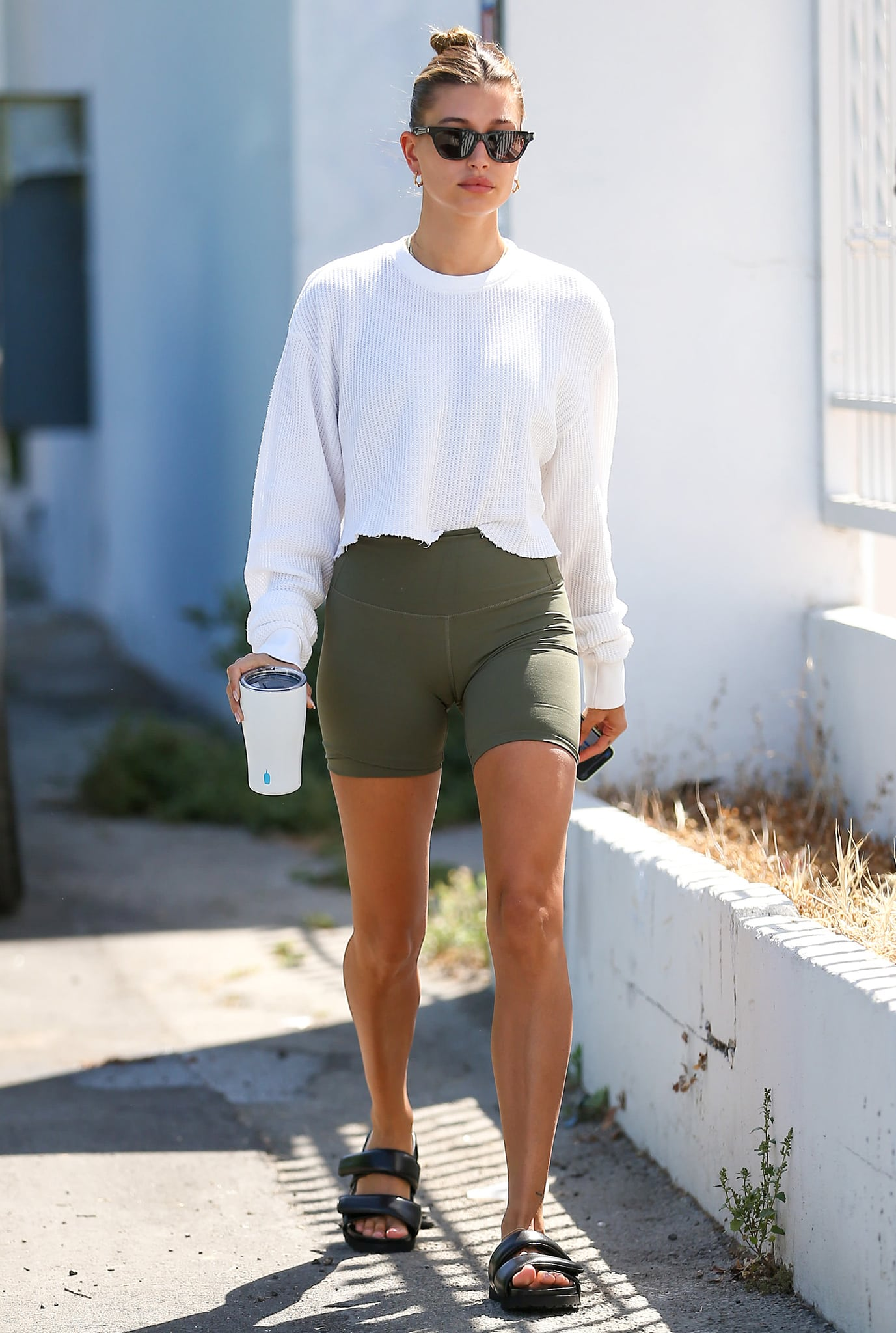 Hailey Bieber layers up with Brandy Melville's Camila thermal ribbed white top