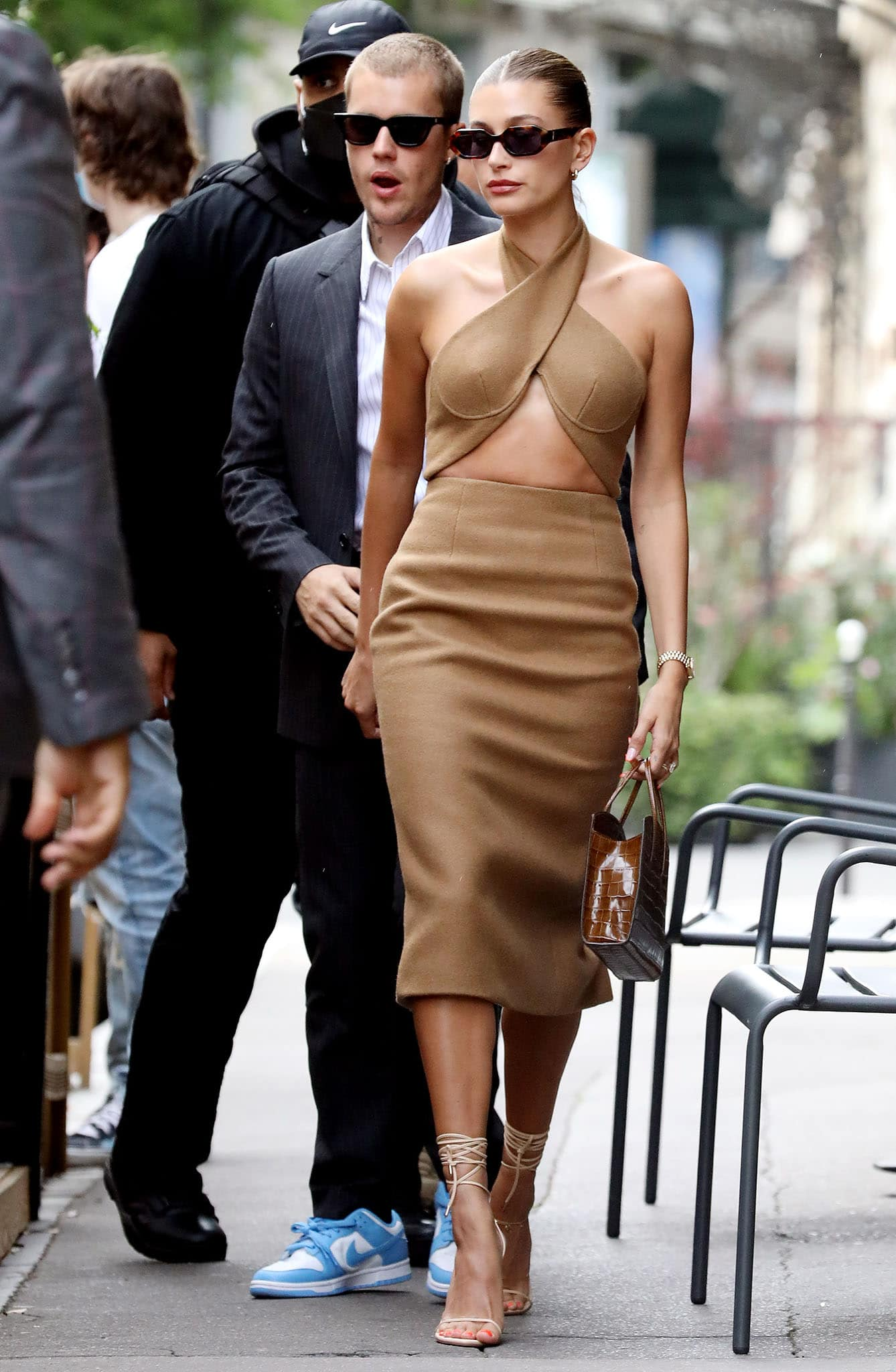 Hailey Bieber looks sultry in a LaQuan Smith Fall 2021 crossover halter dress