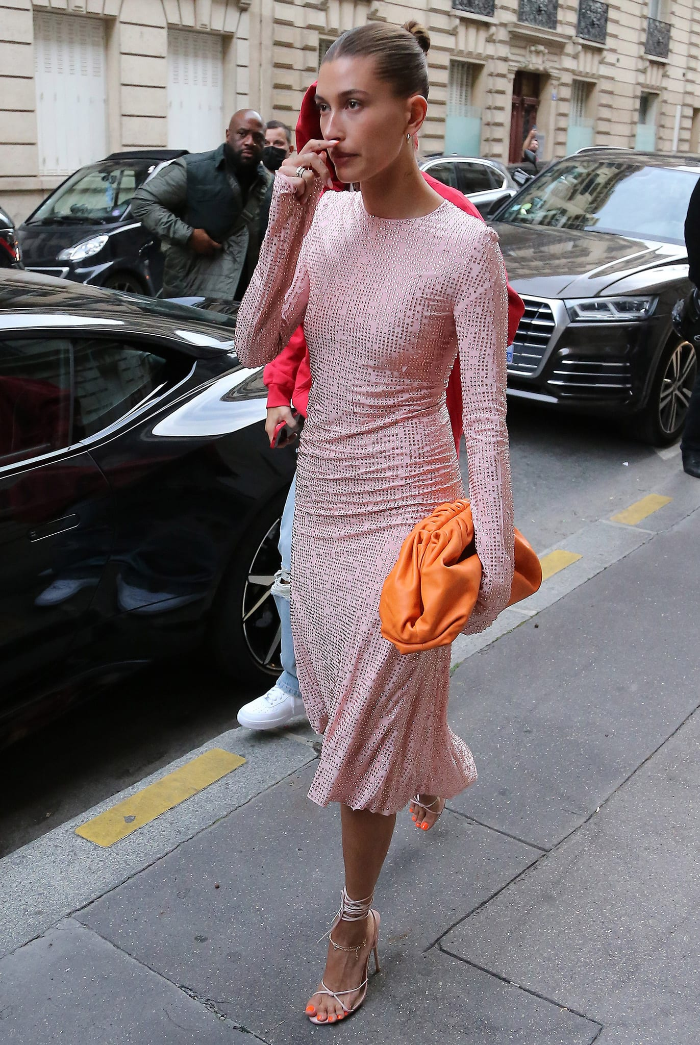 Hailey Bieber is pretty in a pink Miu Miu Fall 2021 embellished dress