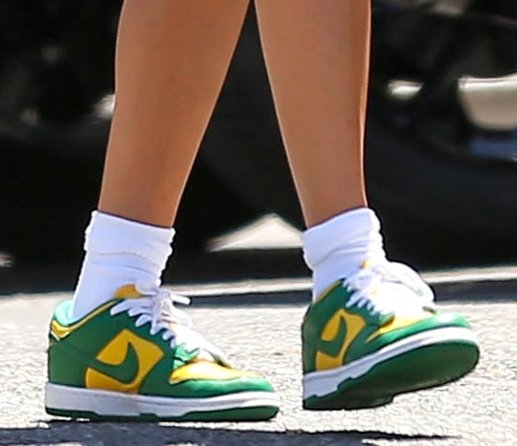 Hailey Bieber completes her chic workout look with Nike Dunk Low Brazil shoes