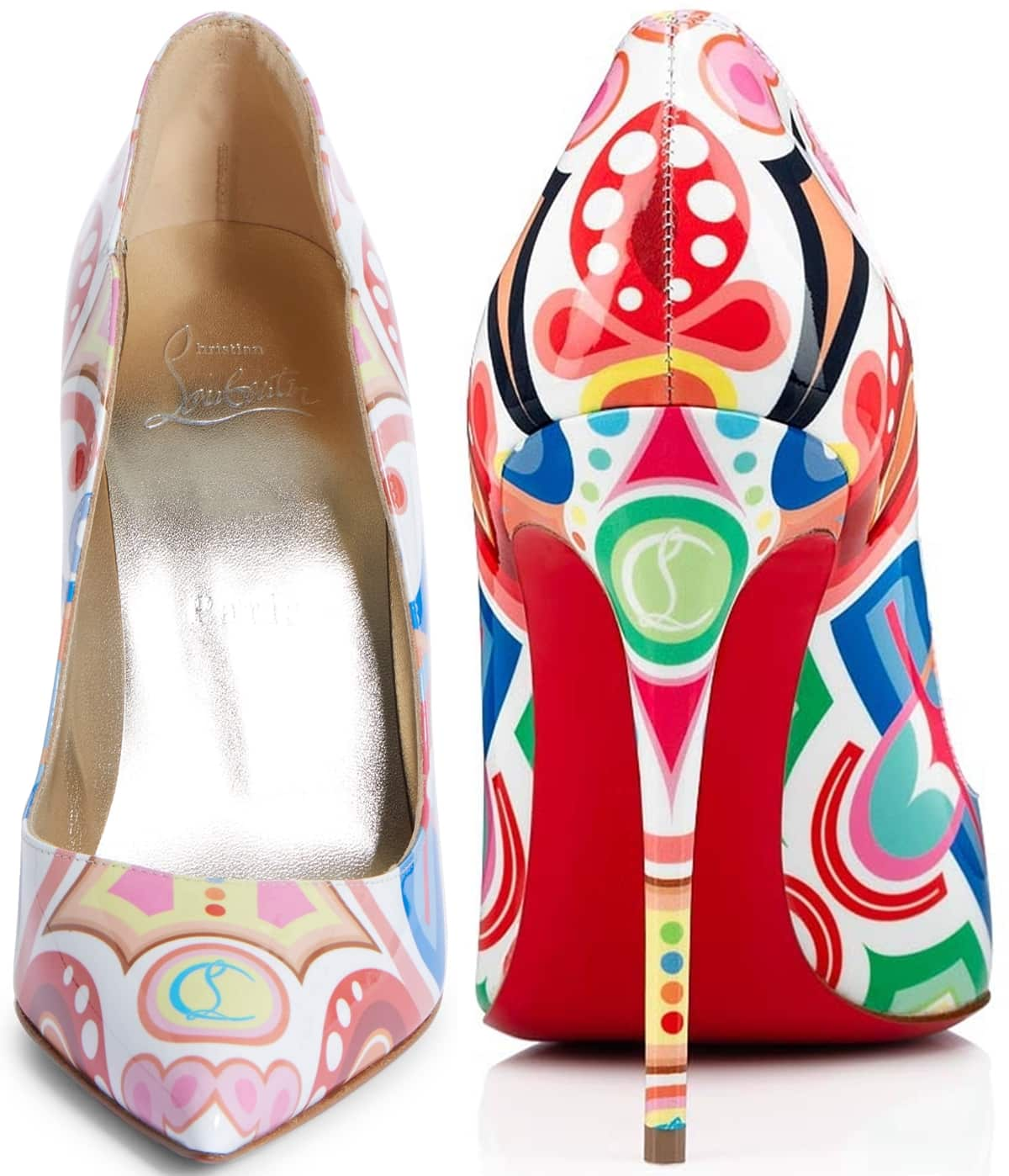 The colorful and festive Tivoli pattern Hot Chick pumps with Christian Louboutin's monogram logo