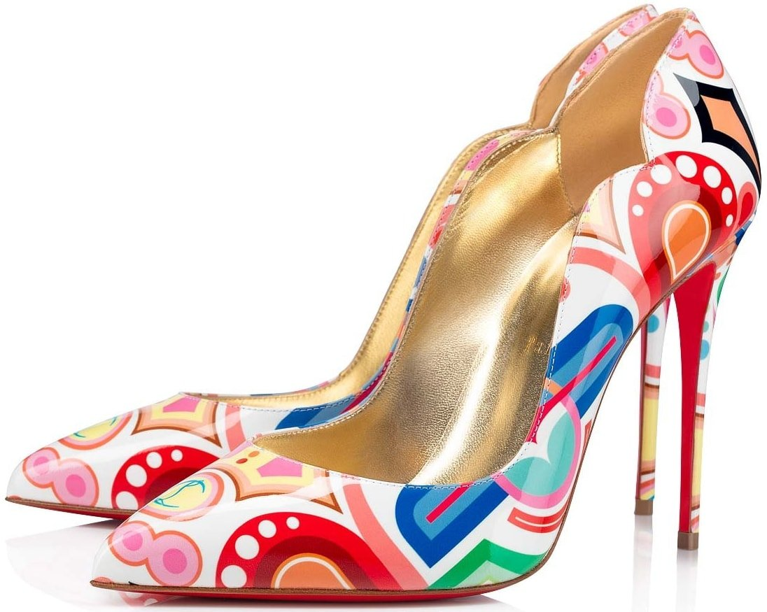 Christian Louboutin pumps in multicolored logo-printed leather with a pretty scalloped topline