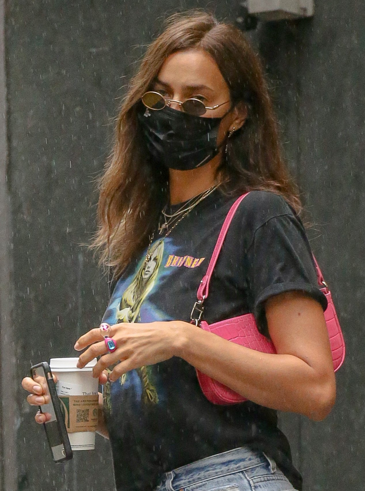 Irina Shayk adds color to her rock 'n' roll look with pink By Far shoulder bag