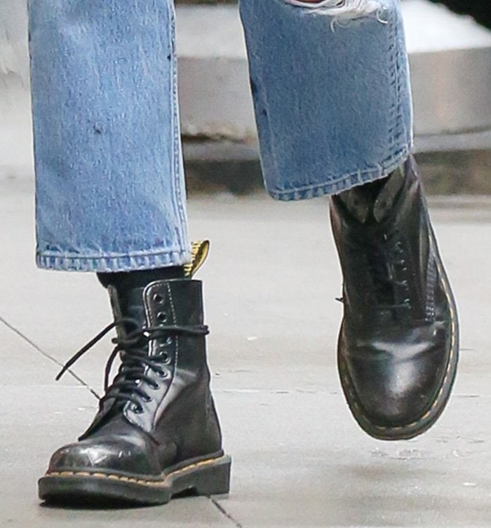 Irina Shayk completes her edgy vintage outfit with Dr. Martens 1460 boots