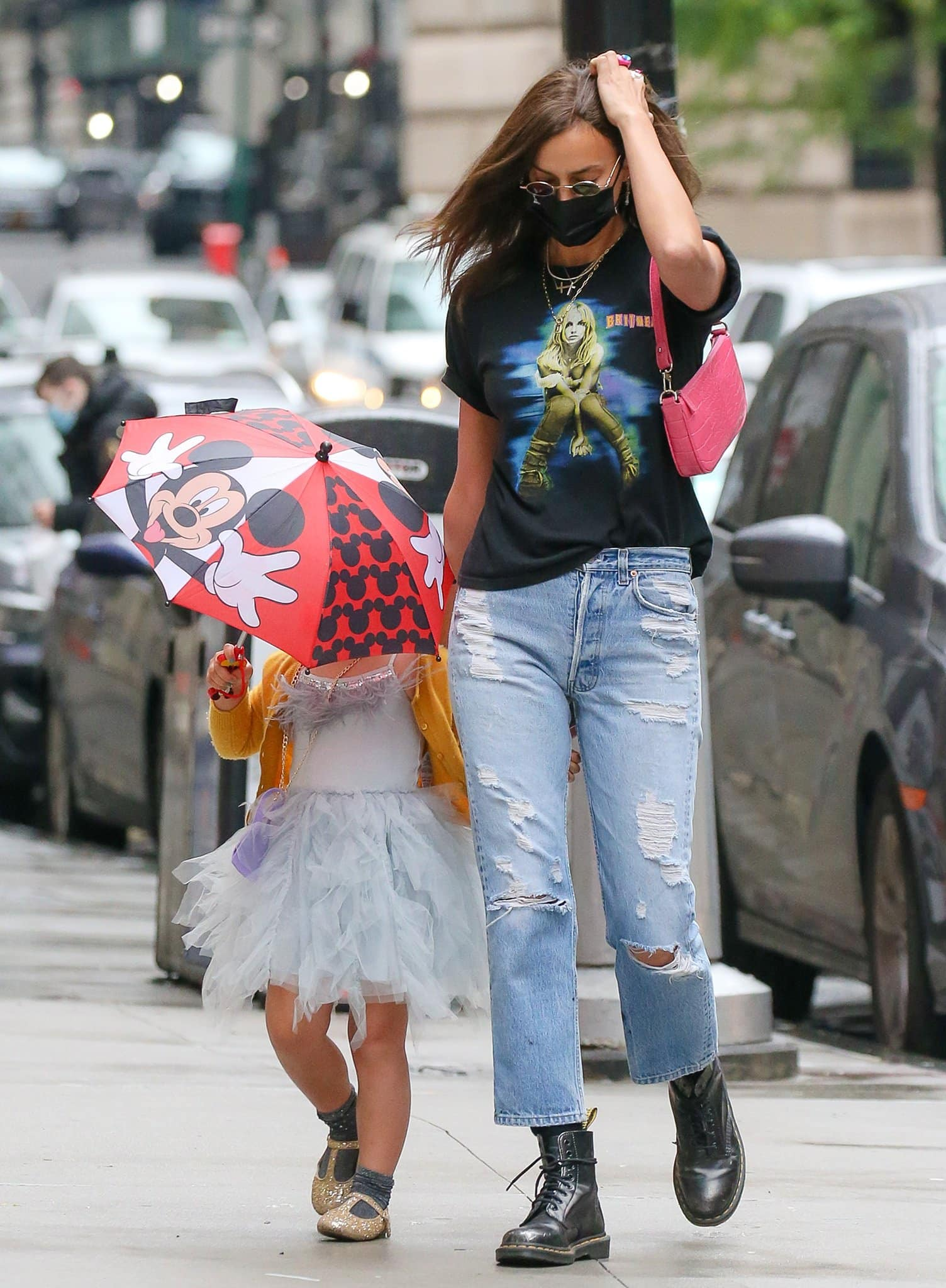 Irina Shayk goes the '90s route while out with her daughter in New York City on June 3, 2021
