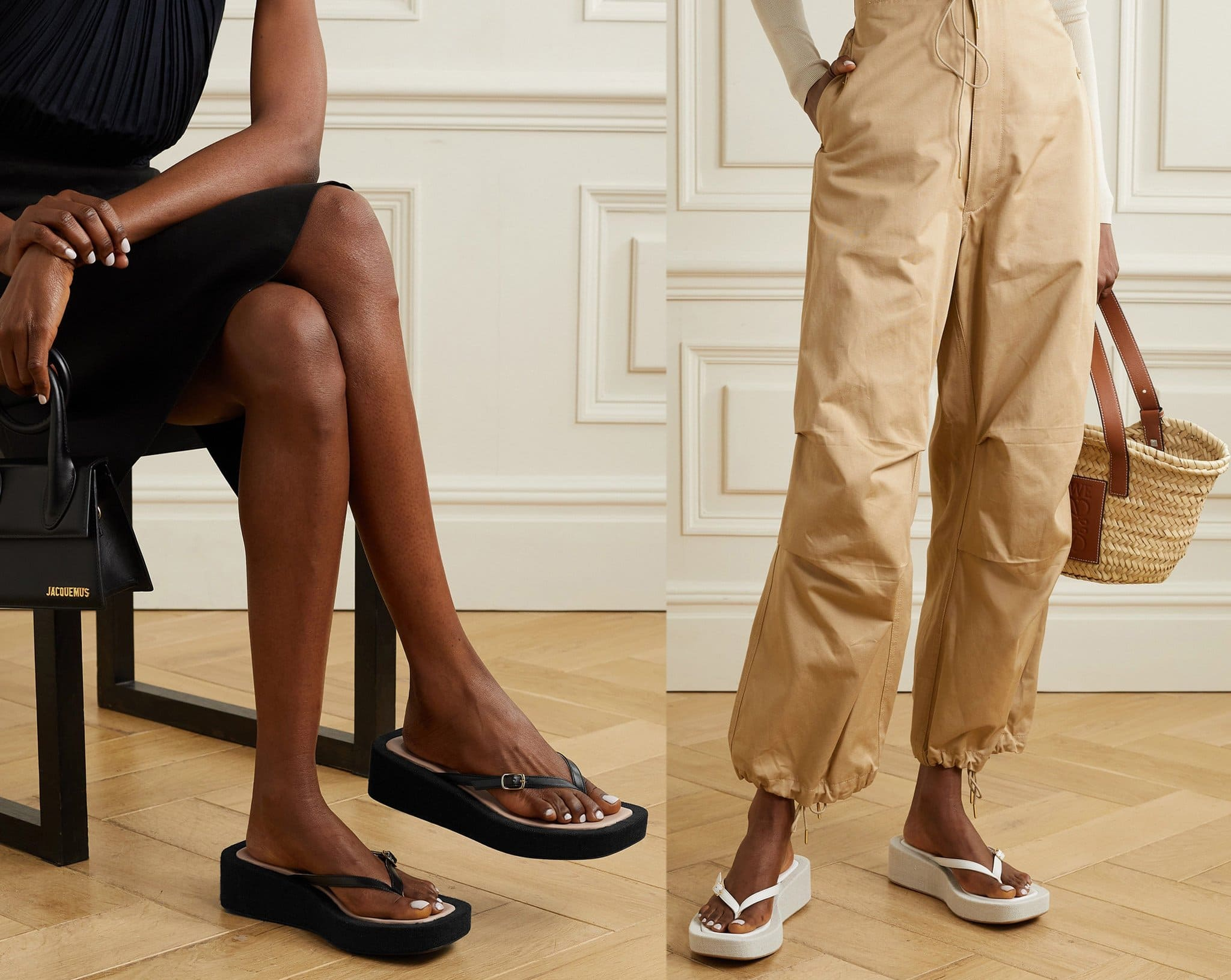 The '90s-inspired Les Tatanes Lin platform flip-flops debuted on Jacquemus Spring 2021 runway