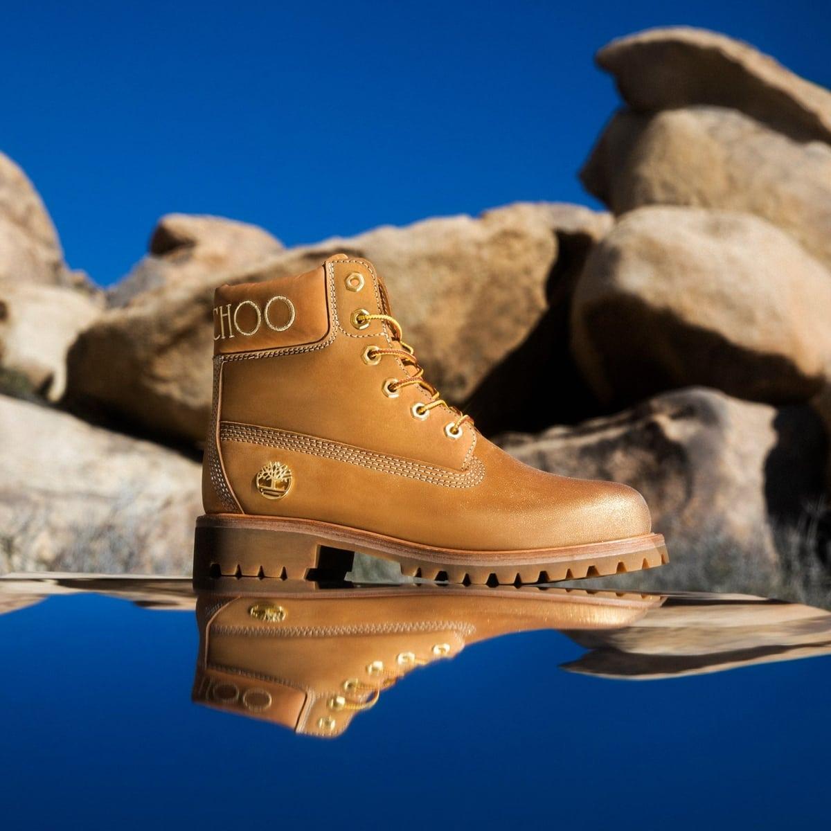 Jimmy Choo x Timberland wheat nubuck leather boots with gold glitter
