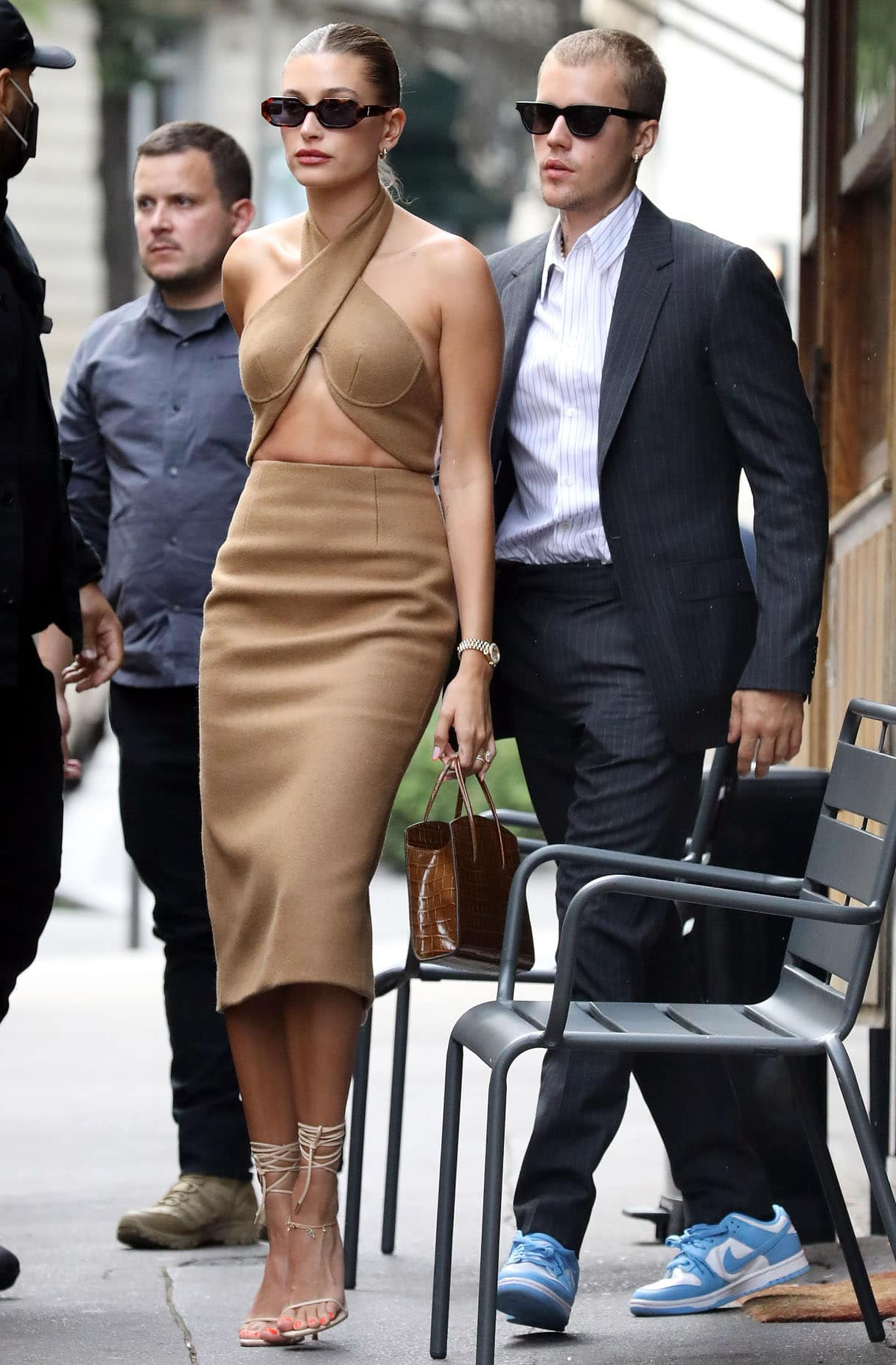 Justin and Hailey Bieber dress to the nines to meet French President Emmanuel Macron on June 21, 2021