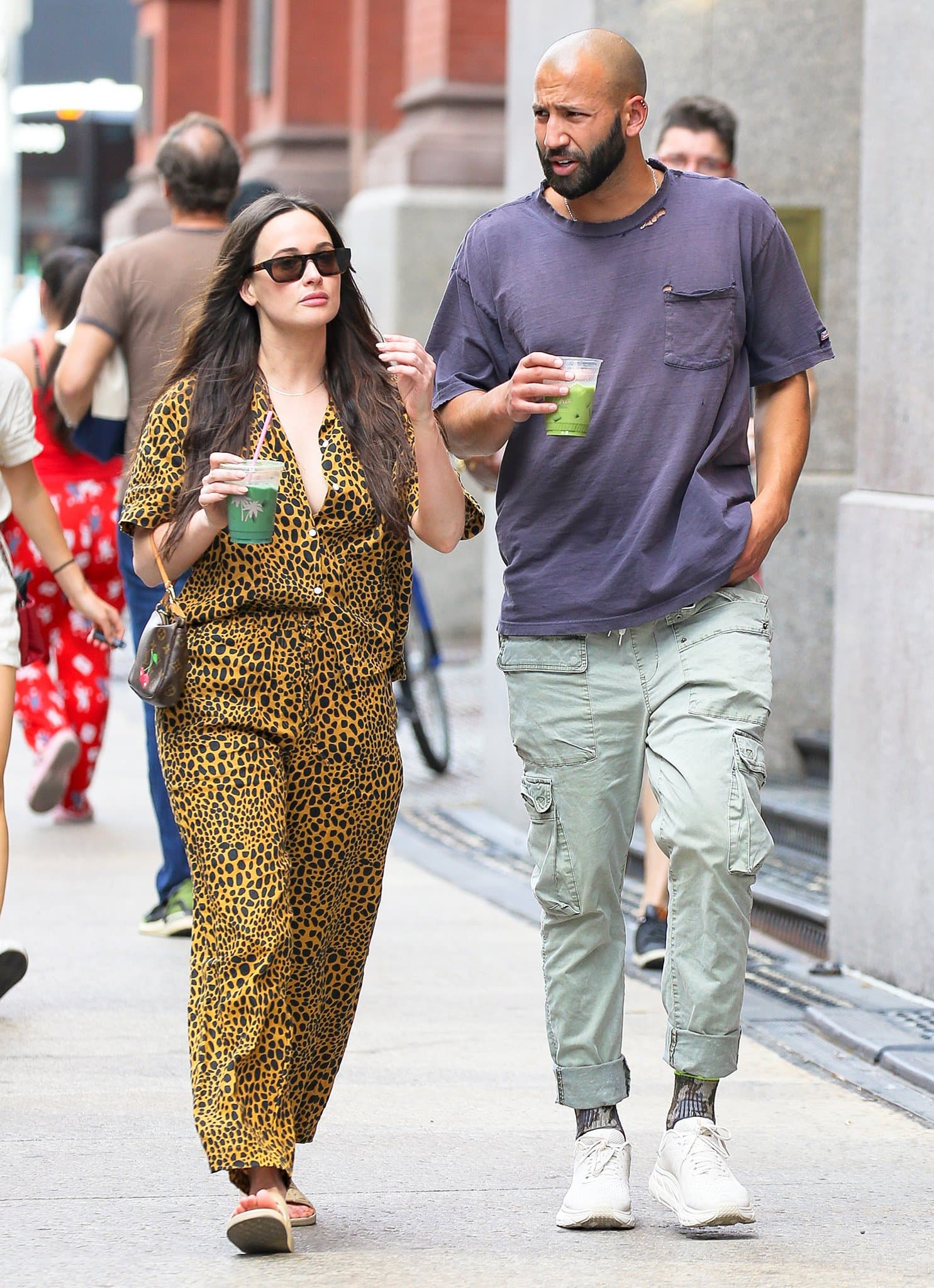 Kacey Musgraves and Cole Schafer grab a green juice while on a stroll in NYC on June 18, 2021