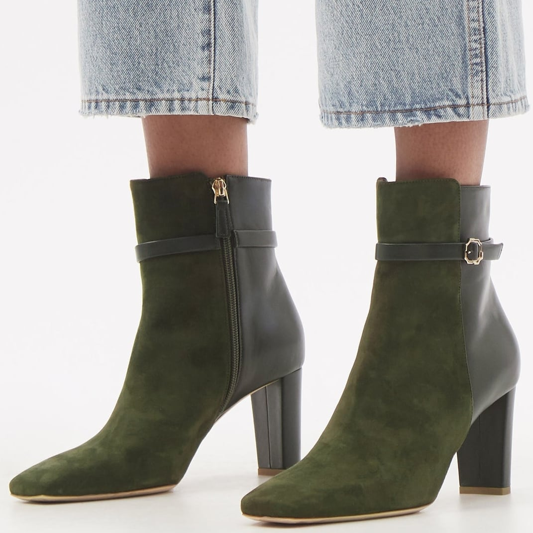 Malone Souliers' dark-green Kris block heel boots feature a slender buckled strap around the ankle and a square toe