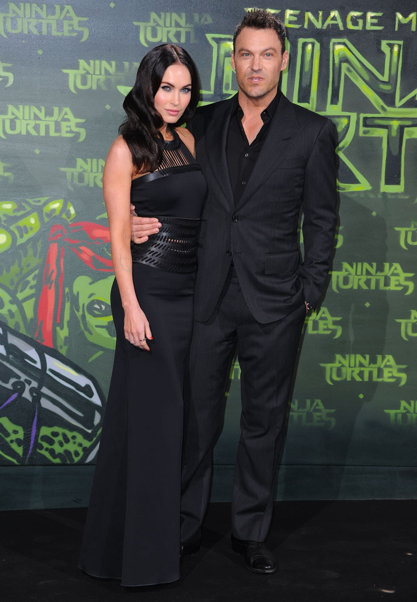 Megan Fox and Brian Austin Green at the German premiere of Teenage Mutant Ninja Turtles on October 5, 2014